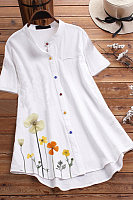Band Collar Flower Print Short Sleeve Blouse