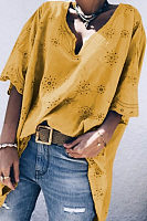 V Neck  Bohemian Lace  Bell Sleeve Blouses