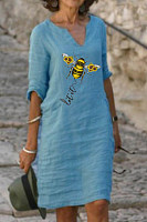 Bee Print Mid-sleeved V-neck Linen Dress