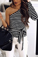 Casual Strapless Single Off Shoulder Long Sleeve Striped T-Shirt