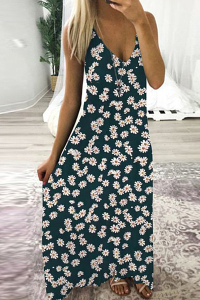 V-Neck Patch Pocket Floral Printed Maxi Dress