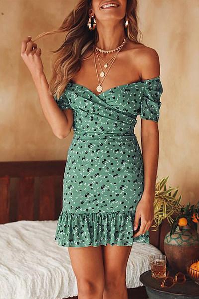 Overlapping V-Neck Printed Ruffled Dress
