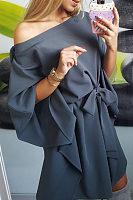 One Shoulder  Asymmetric Hem Belt Plain  Batwing Sleeve Ecasual Dresses