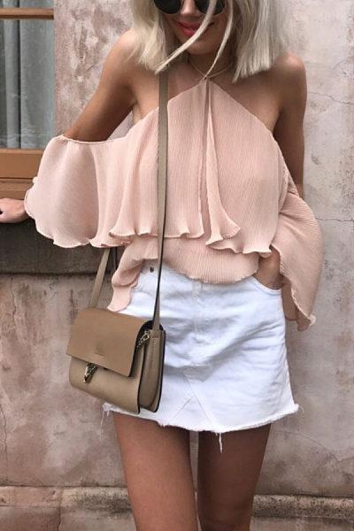 Off Shoulder  Plain  Bell Sleeve  Blouses
