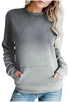 Round Neck Long Sleeve Gradient T-shirt