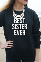 Round Neck Long Sleeve Letters Sweatshirt