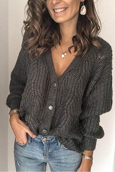 Women's solid color V-neck cardigan BJ31
