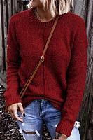 Round Neck Long Sleeve Plain Sweater