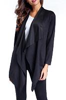Fold Over Collar  Asymmetric Hem  Plain Cardigans