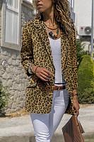 Narrow Notch Lapel  Flap Pocket  Leopard Printed Blazers