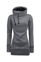 Drawstring Slit Pocket  Patchwork Hoodies