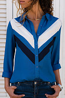 Turn Down Collar  Single Breasted  Color Block  Blouses