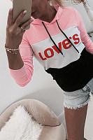 Fashion Colouring Letters Hooded Drawstring Long Sleeves Sweatshirts