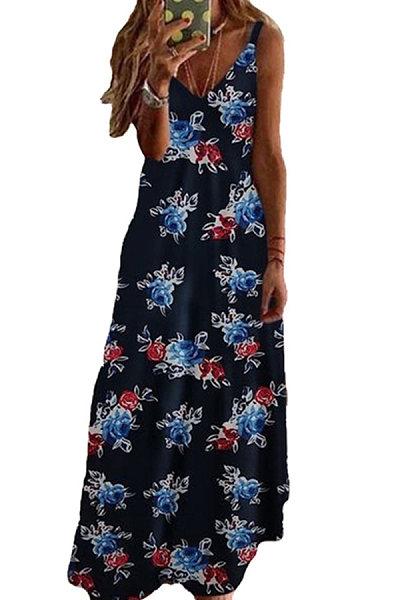 V-Neck Decorative Buttons Floral Printed Maxi Dress