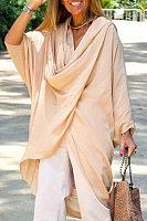 Casual Cotton Pure Colour Irregular Hem Long Sleeve Midi Top