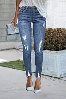 Slim High Waist Hole Denim Pants Women's Jeans