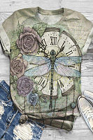 Dragonfly Clock Printed T-shirt