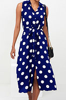V Neck  Belt  Dot  Sleeveless Maxi Dresses