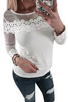 Round Neck  Lace Plain T-Shirts