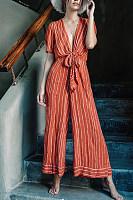 Classy V Neck Striped Lace-Up Jumpsuits