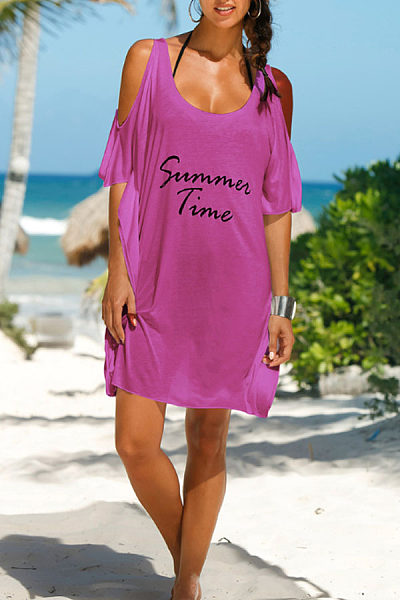 Round Neck  Letters  Long Sleeve Casual Dresses
