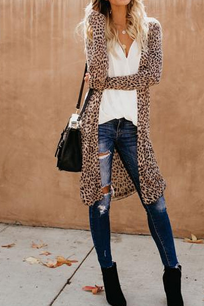 Collarless  Leopard Print Outerwear