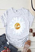 Fashion Round Neck Short Sleeve Floral T-shirt