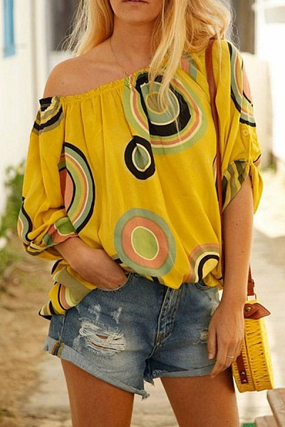 Word Collar Long Sleeve Printed Casual Blouse