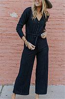 V Neck  Loose Fitting  Plain  Long Sleeve Jumpsuits