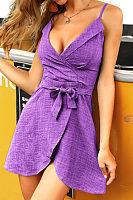 Spaghetti Strap  Belt  Plain  Sleeveless Casual Dresses