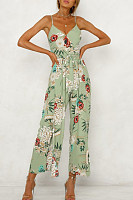Side Slit  Belt  Floral Jumpsuits