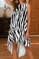Round Neck  Asymmetric Hem  Printed  Sleeveless Casual Dresses
