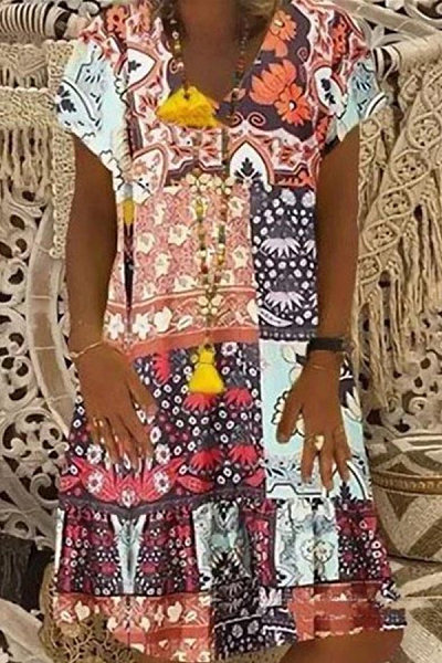 Printed V-neck short sleeve dress