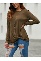 Round Neck Long Sleeve Knotted T-Shirt