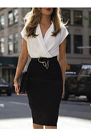 V Neck  Belt Loops  Patchwork  Extra Short Sleeve Bodycon Dresses
