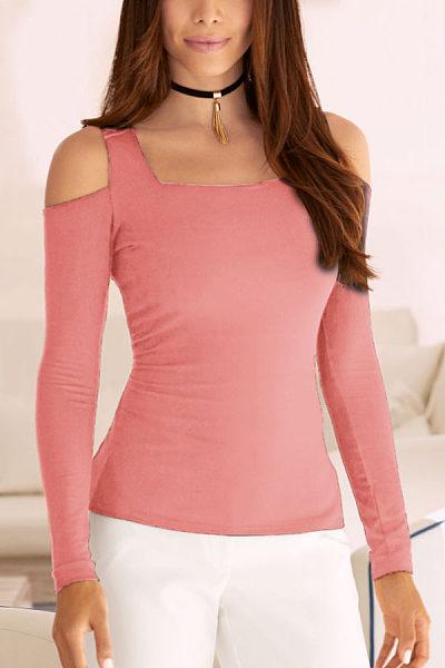 Open Shoulder  Plain T-Shirts
