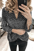 Casual V Neck Long Sleeve Printed Blouse