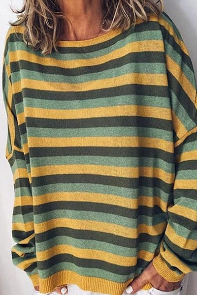 Round Neck Striped Casual Hoodies