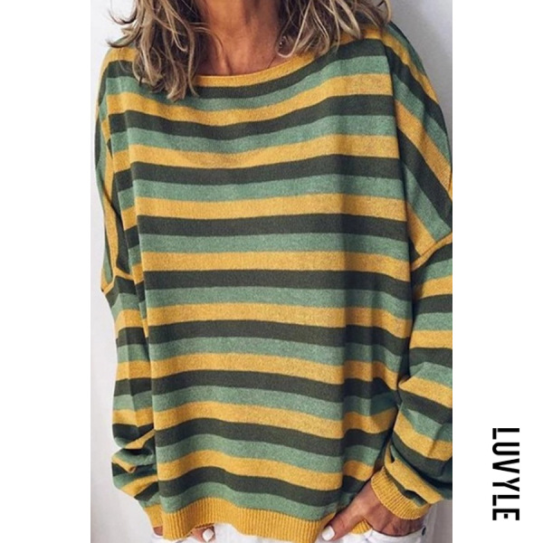 Yellow Round Neck Striped Casual Hoodies Yellow Round Neck Striped Casual Hoodies