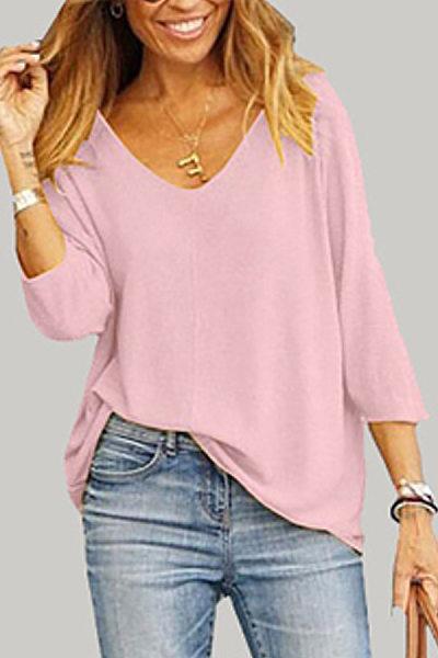 Casual Soild Color Loose Long Sleeve T-Shirt