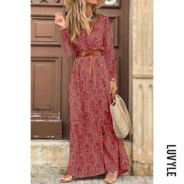 Women Autumn V-neck Printed Maxi Dress