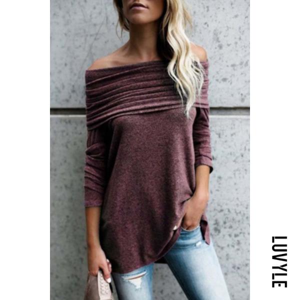 Purple Off Shoulder Asymmetric Hem Plain T-Shirts Purple Off Shoulder Asymmetric Hem Plain T-Shirts