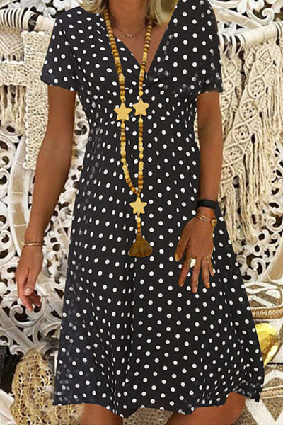 V Neck Short Sleeve Polka Dot Dress