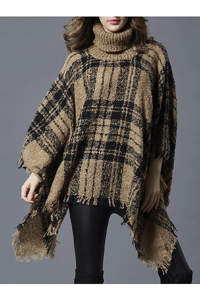 Turtleneck Plaid Frayed Trim Cape