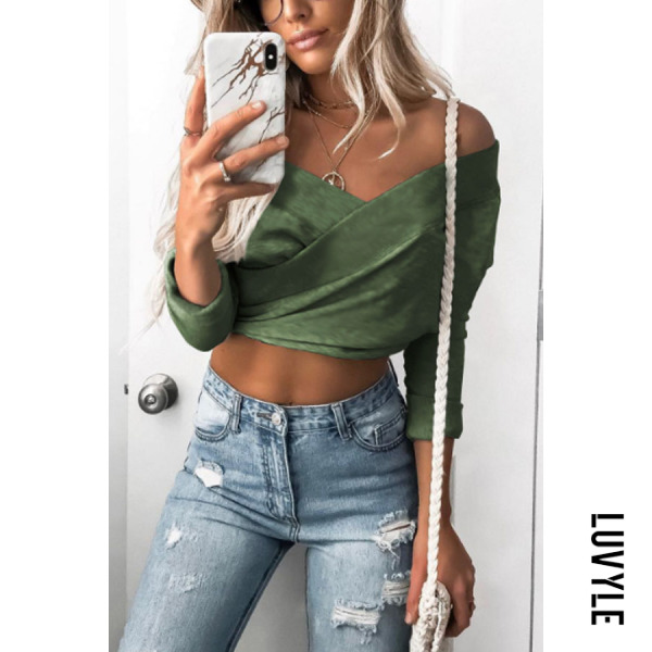 Green Off Shoulder Backless Exposed Navel Plain T-Shirts Green Off Shoulder Backless Exposed Navel Plain T-Shirts