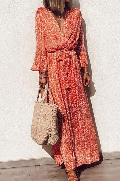 V Neck  Bow  Print  Bell Sleeve  Maxi Dresses