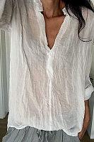 V Neck Long Roll Up Sleeve Plain T-Shirts