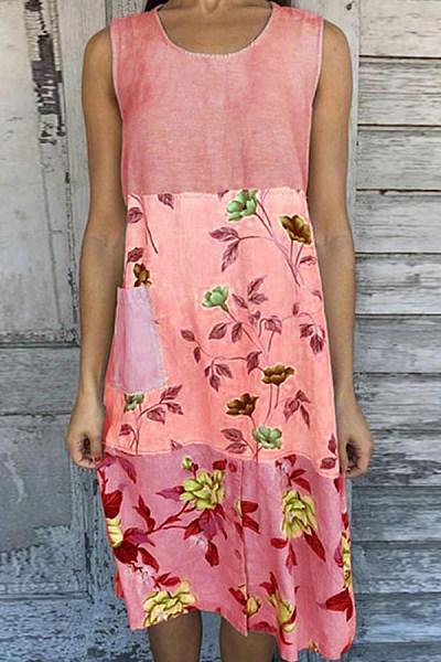 Printed Sleeveless Stitching Casual Dress
