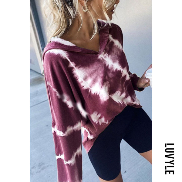 Purple Women Autumn Tie-dye Casual Hoodie Purple Women Autumn Tie-dye Casual Hoodie