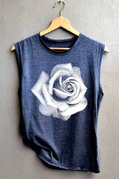 Printed pattern vest casual T-shirt